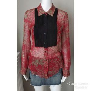 CHLOE sheer 100% silk top in red and black